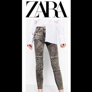 Zara Woman The Rider Grey zipper moto denim jeans